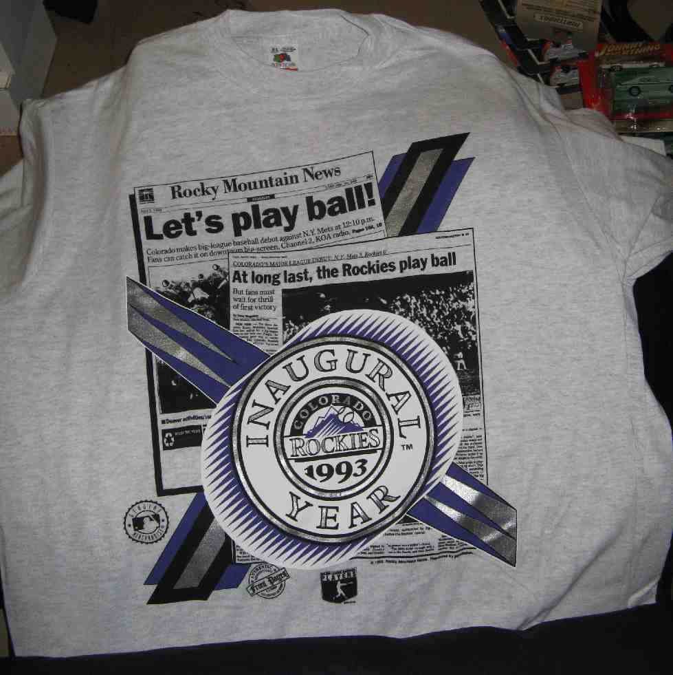 new product e55a0 1246f #CR-93 Colorado Rockies Inaugural Year Short Sleeve T-Shirt with Opening  Day Roster